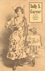 SALLY S.CARVER top right, woman standing, wearing dress made of Tuck postcards