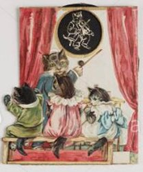 dressed cat as a teacher, three others sit on a bench and watch