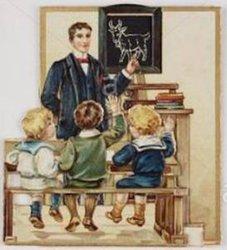man at chalkboard, three children on bench