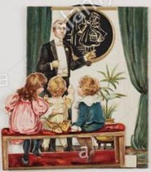 man in a black suit, three children watch from a bench