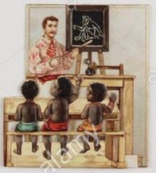 man in a pink shirt, three black boys on a bench being taught