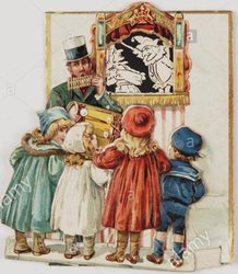 man with a puppet theater showing Punch & Judy, four children watch