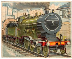 THE IRON HORSE. locomotive, green train engine