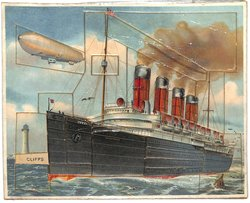 ACROSS THE ATLANTIC, steamship The Mauritania, zeppelin airship in background