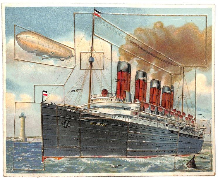 DAS DAMPFSCIFFH, steamship, zeppelin airship in background