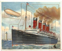 DAS DAMPFSCIFFH, steamship, zeppelin airship in background