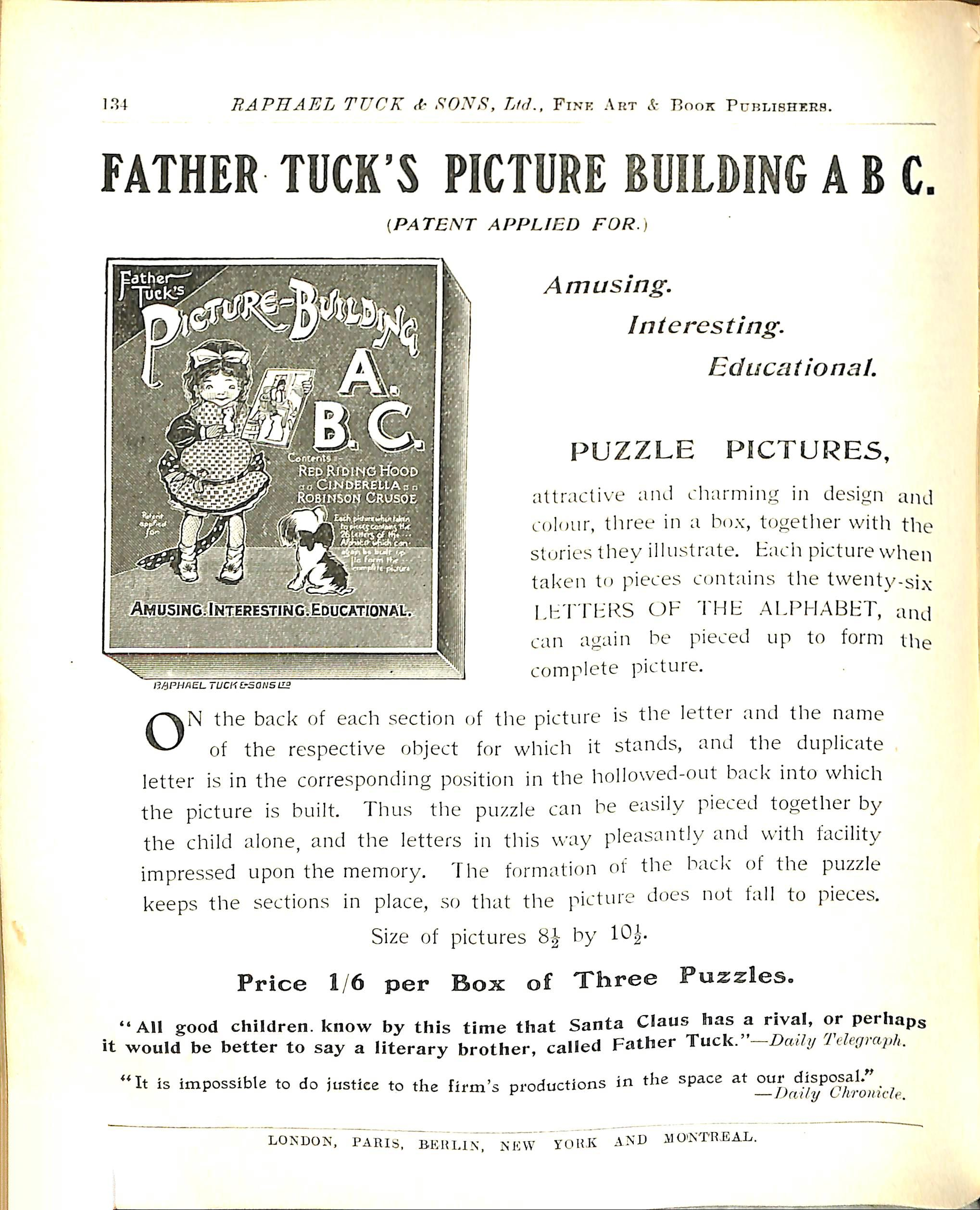 FATHER TUCK'S PICTURE BUILDING PUZZLE,  ALICE IN WONDERLAND