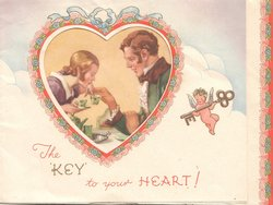 THE KEY TO YOUR HEART perforated heart window shows man & woman having tea, cupid with metallic key right