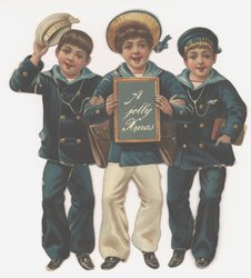 three boys in sailor suits, center boy holds a slate that says A JOLLY XMAS