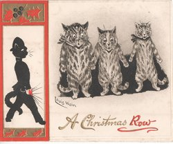 A CHRISTMAS ROW black cat walking to left, three scared cats on right