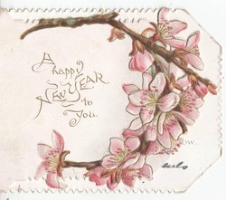 A HAPPY NEW YEAR TO YOU in gilt, pink apple blossoms to the right