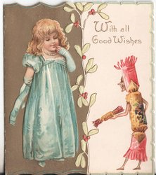 WITH ALL GOOD WISHES child in old style dress talks to personised Christmas cracker