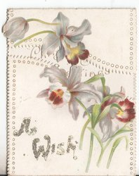 A WISH (glittered), purple iris above