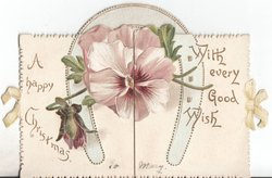 A HAPPY CHRISTMAS (left) pansy under horseshoe WITH EVERY GOOD WISH (right)