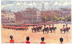 THE KING LEAVING THE HORSE GUARDS PARADE AT THE HEAD OF THE GUARDS