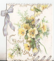 GOOD WISHES bunches of yellow primoses tied together with purple ribbon
