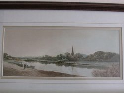 untitled view of a boat at a riverbank, woman on near shore, church in distance