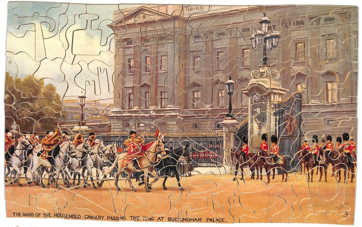 THE BAND OF THE HOUSEHOLD CAVALRY PASSING THE KING AT BUCKINGHAM PALACE
