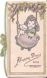 HAPPY DAYS AND MANY girl on swing with dog and doll, lilac above