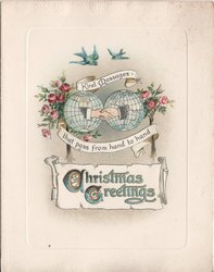 CHRISTMAS GREETINGS / KIND MESSAGES THAT PASS FROM HAND TO HAND two hands shaking, roses to the side and bluebirds above