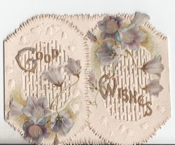 GOOD WISHES in glittered gilt, purple flowers
