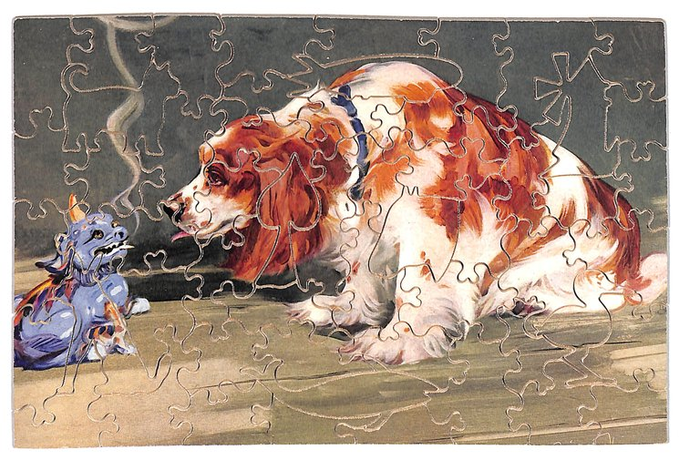 A CHINESE PUZZLE, brown and white dog looks at a ceramic style dog