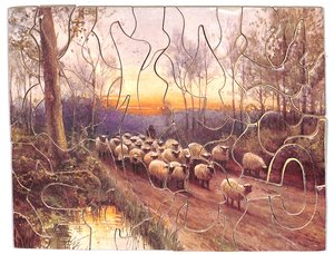 BY PEACEFUL WAYS, sheep being herded down a country lane