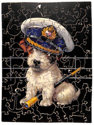 PRIDE OF THE FLEET, terrier type dog wears a sailors hat, telescope at his feet