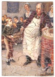 OLIVER TWIST (FROM DICKENS), thin young boy holds empty bowl and asks for more porridge