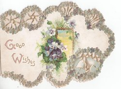 GOOD WISHES in gilt, pansies to right, surrounded by botder of pansies, bells bottom right
