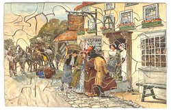 THE ARRIVAL, stagecoach unloading, passengers at the door of the inn