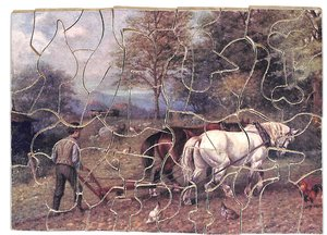 SEED TIME, two horses pulling a plow with a farmer