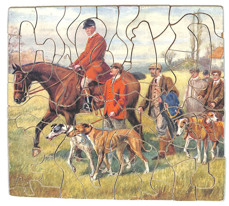 FOR A DAY'S BROWSING, hunter mounted on a horse, several others walk with dogs beside him