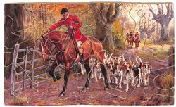 A DAY'S HUNT, huntsman riding a brown horse opens a gate for a pack of foxhounds