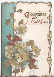 GREETINGS AND ALL GOOD WISHES (G/A/G/W illuminated) flowers and brown leaves