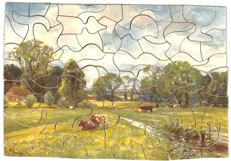 ACROSS THE MEADOWS, cows in a field, farmhouse, trees and fences in distance,