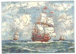 THE RETURN HOME, sailing ships at sea under full sail