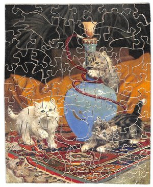 THE SMOKING CONCERT, three cats with a bong and a smoking cigarette butt