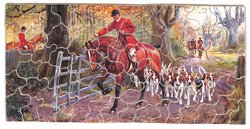 THE HUNTSMAN, huntsman on horse opening the gate for hounds and others on horseback