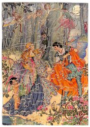 LOVE'S YOUNG DREAM, gentleman asks lady to dance, fancy dress, surrounded by cupids and fairies