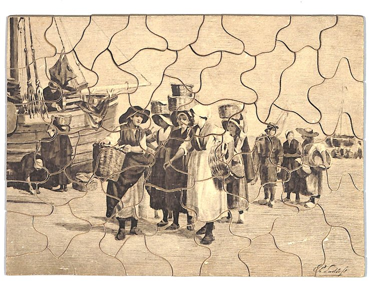 BY THE ZUYDER ZEE, black and grey images of women with fish baskets, ships in background