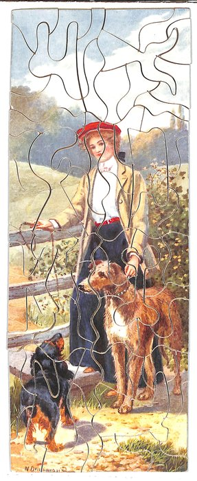 THE GAME KEEPER'S DAUGHTER, woman stands at fence with two dogs