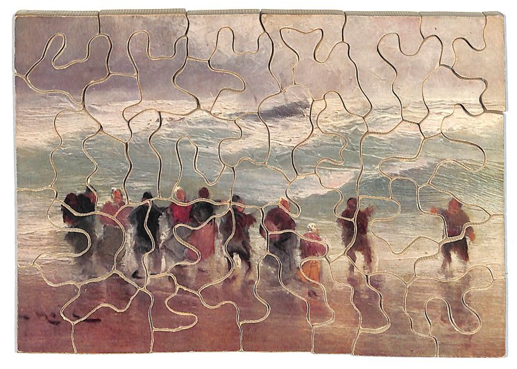 German edition, people on shore, ship in distance, large waves