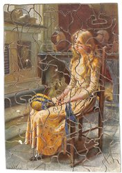 LITTLE NELL, young girl with a wistful expression sits in a chair