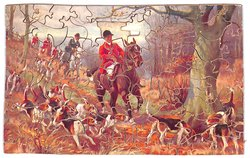 GONE TO GROUND, huntsmen and foxhounds