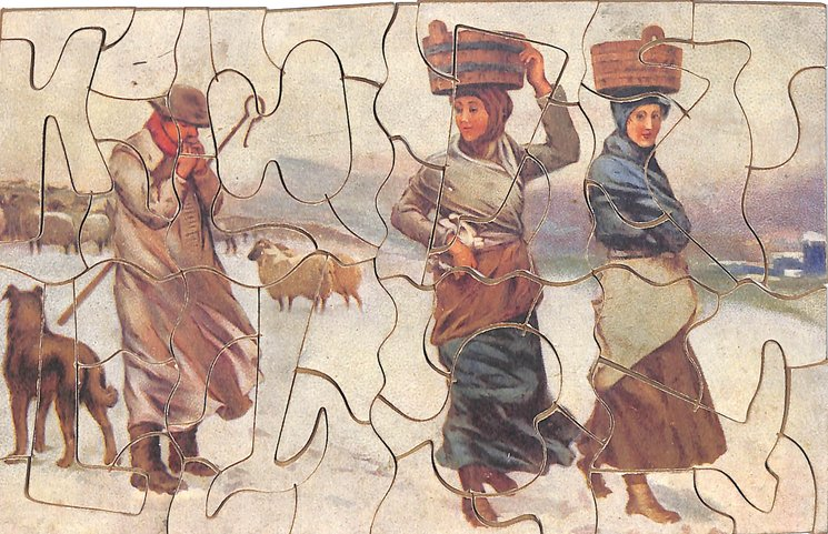 DICK THE SHEPHERD, man and dog with a herd of sheep, two women pass by with baskets on their heads
