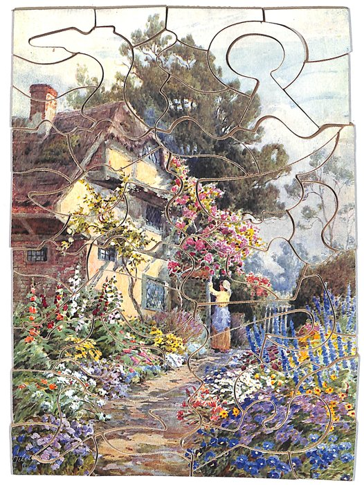 THE COTTAGE  I LOVE, lady at a cottage with a lovely garden