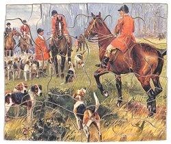 A WOODSIDE MEET, huntsmen, horses, and hounds
