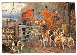 A HOT SCENT, horses and hounds going through a metal gate