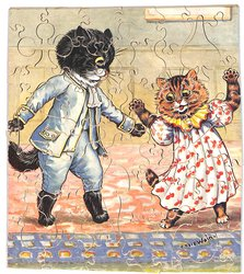 THE DANCING LESSON, two dressed cats dance on their hind legs